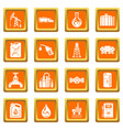 oil industry icons set orange square vector image vector image