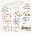 passport stamp city and country icons set vector image vector image