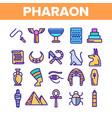 pharaoh egypt king thin line icons set vector image vector image