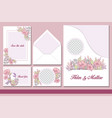 romantic wedding stationery floral set vector image