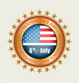 round sign with a gold color silhouette of the us vector image vector image