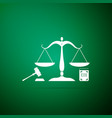 scales of justice gavel and book icon isolated vector image vector image