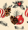 seamless pattern with pine cones and xmas toys vector image vector image