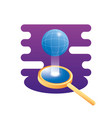 search magnifying glass with sphere planet vector image vector image