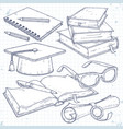 set for students student cap scroll with vector image vector image