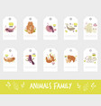 set gift tags and labels with cute animal vector image