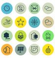 set of 16 eco-friendly icons includes cigarette vector image vector image