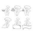 Set of cartoon cooks chefs outline vector image vector image