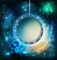 shiny holiday background with snowflakes and frame vector image vector image