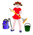 the girl helper in the household vector image