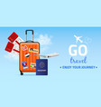 travel banner realistic plastic luggage bag on vector image