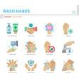 wash hands icon set vector image vector image