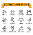 zodiac line icons vector image