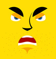 Cartoon angry face on yellow background aggressive vector image