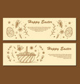 easter eggs composition hand drawn black on white vector image