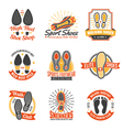 Footwear Labels With Footprints Icons Set vector image