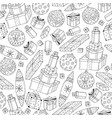 seamless christmas gifts pattern in doodle style vector image