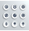 Sport balls icon set - white round buttons vector image