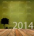 2014 calendar tree design vector image vector image