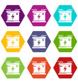 accumulator icons set 9 vector image vector image