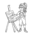artist girl painting on canvas vector image
