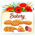 bakery themed background with poppies and wheat vector image