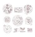 bundle monochrome drawings oriental sweets vector image vector image