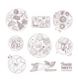 bundle of monochrome drawings of oriental sweets vector image