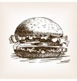 Burger sandwich hand drawn sketch style vector image vector image