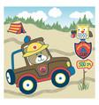 cartoon forest police patrol vector image vector image