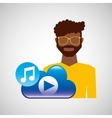 cartoon man glasses cloud music play vector image vector image