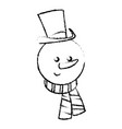 christman snowman character with hat and scarf vector image