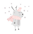 christmas cute cartoon deer in hat and vector image