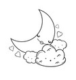 clouds and moon cute cartoons in black and white vector image