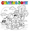 coloring book with pirate theme 4 vector image