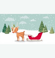 deer with sled in snowscape vector image vector image