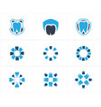 dental logo set tooth in shield icons vector image