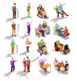elderly people isometric set vector image