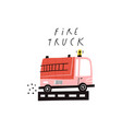 fire truck text and cute cartoon fire engine vector image vector image