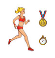 flat girl running golden medal stopwatch vector image