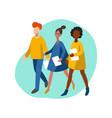 flat infographics walking women and man vector image