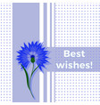 floral greeting card best wishes with blue flower vector image