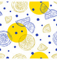 fresh lemons background seamless pattern hand vector image vector image