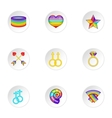 Gays and lesbians icons set cartoon style vector image vector image