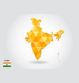 geometric polygonal style map of india low poly vector image vector image