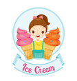 Girl With Ice Cream Logo And Label vector image