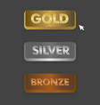 gold silver and bronze buttons set with mouse vector image