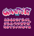 graffiti style font magenta and purple colors vector image vector image