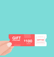 hand holding coupon holiday and event gift card vector image vector image