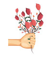 hand with roses vector image
